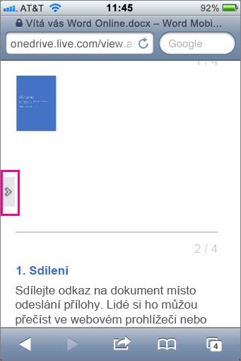 Klepnutím sem otevřete panel nástrojů v prohlížečích Office Mobile Viewer