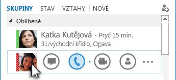 Snímek obrazovky s nabídkou Quick Lync se zvýrazněnou ikonou telefonu