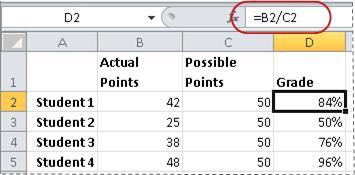 Příklad vzorce pro výpočet procent