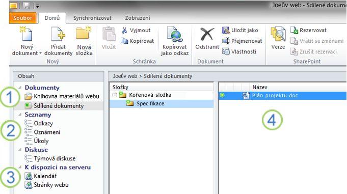 Pracovní prostor služby SharePoint