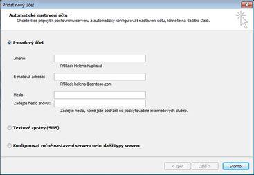 Dialogové okno Přidat nový účet s vybraným e-mailovým účtem