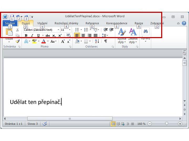 Karta Domů vaplikaci Word2010 se zobrazenými popisy s klávesovými zkratkami