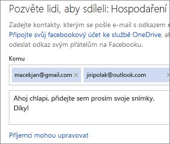Napsání e-mailových adres a textu k odeslání odkazu e-mailem