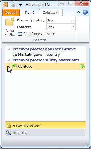 Pracovní prostor služby SharePoint na spouštěcím panelu