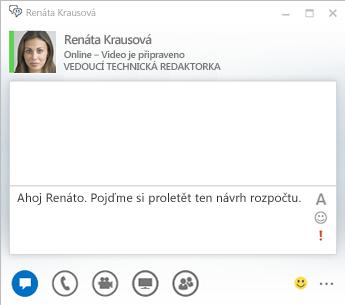 Snímek obrazovky s oknem konverzace pomocí rychlých zpráv