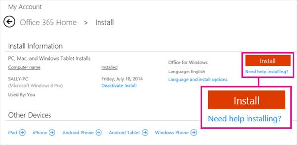 """Skærmbillede af installationssiden med knappen """"Installer"""" og linket """"Har du brug for hjælp til at installere?"""" markeret."""