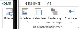 Skærmbillede af gruppen Dokumentkomponenter under fanen Indsæt i Publisher.