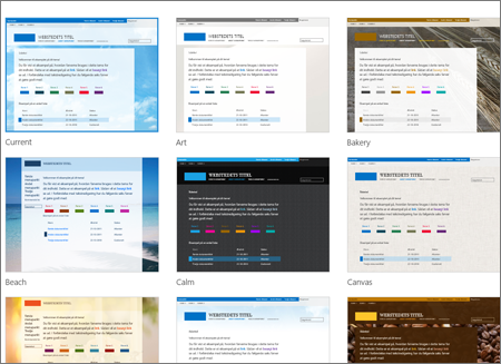 Side med et udvalg af Office 365-skabeloner, der viser valgfri skabeloner til offentlige websteders layout og tema