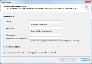 Dialogboksen Tilføj ny konto med E-mail-konto valgt