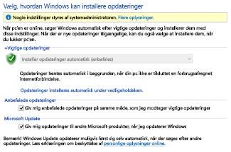 Windows Update-indstillinger i Kontrolpanel i Windows 8