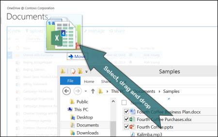 Trække og slippe for at uploade filer til OneDrive
