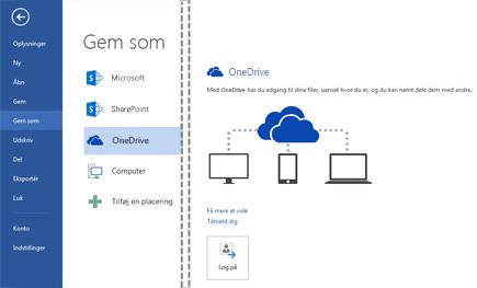 Gemme en fil i OneDrive
