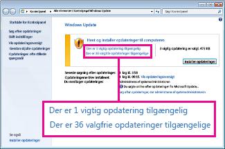 Links i ruden Windows Update