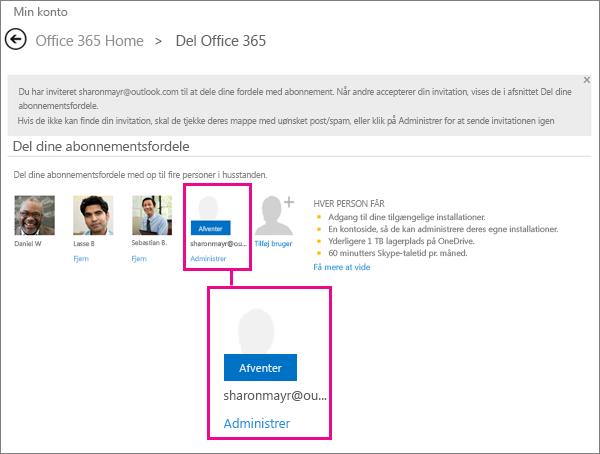 Skærmbillede af siden Del Office 365, som viser en afventende bruger på et delt abonnement.