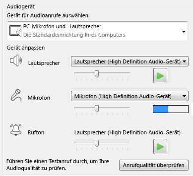 Screenshot des Auswahlfelds für Audiogeräte, in dem Sie die Audioqualität festlegen können