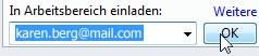 Einladen in einen Arbeitsbereich per E-Mail-Adresse