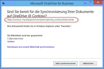 OneDrive for Business-Assistent mit vorher ausgefüllter URL