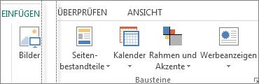 """Screenshot der Gruppe """"Bausteine"""" auf der Registerkarte """"Einfügen"""" in Publisher"""
