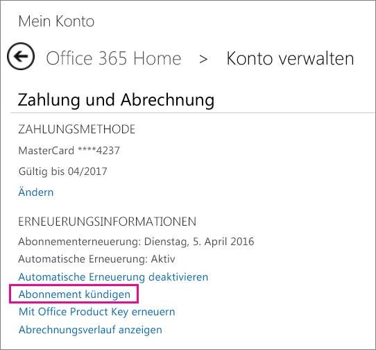 """Screenshot der Seite """"Konto verwalten"""" mit markiertem Link """"Abonnement kündigen"""""""