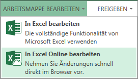 'In Excel Online bearbeiten' im Menü 'Arbeitsmappe bearbeiten'