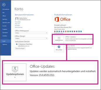 Die Versionsnummer wird unter 'Office-Updates' aufgelistet.