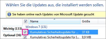 Auswählen eines Updates