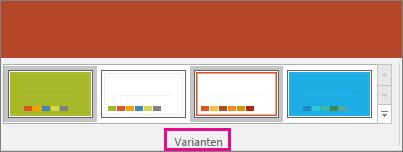Zeigt Varianten des PowerPoint-Designs
