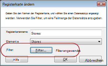 Registerkarte mit angewendetem Filter