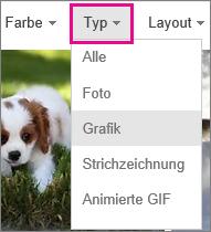 """Menü """"Typ"""", """"ClipArt"""" ausgewählt"""