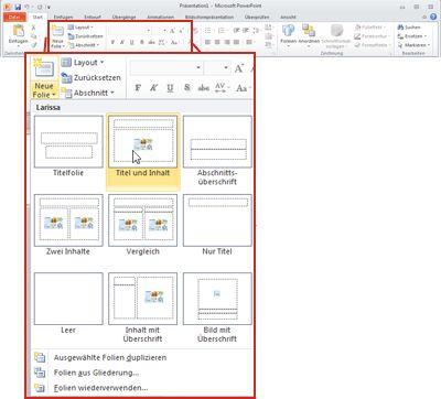 Registerkarte 'Start' in PowerPoint 2010, Gruppe 'Folien'