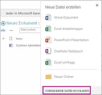 Screenshot des Dialogfelds 'Neues Dokument' mit hervorgehobener Schaltfläche 'Vorhandene Datei hochladen'