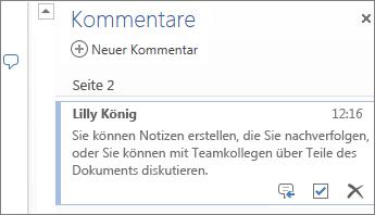 Kommentarthreads in Word Online