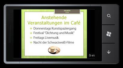 PowerPoint Mobile 2010 für Windows Phone 7: Bearbeiten und Anzeigen auf Ihrem Telefon