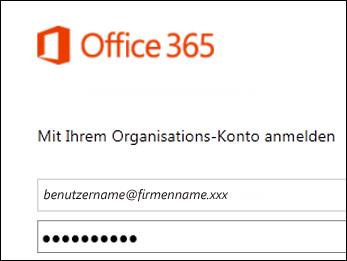 Anmeldebildschirm des Office 365-Portals