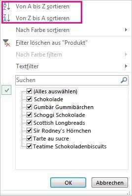 Sortierbefehle im Katalog für Sortieren und Filtern