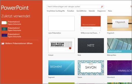 PowerPoint 2013-Startbildschirm