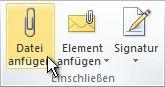 Befehl 'Datei anfügen' im Menüband