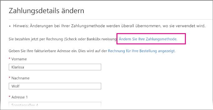 Seite 'Zahlungsdetails ändern' mit hervorgehobenem Link 'Zahlungsmethode ändern'