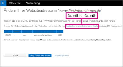 """Wählen Sie unter """"Websiteadresse ändern"""" den Link """"Schritt-für-Schritt"""" für die schrittweise Anleitung aus"""