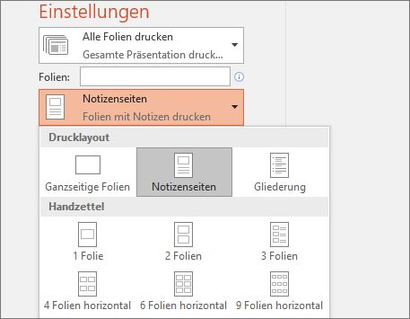"Screenshot der Option ""Notizen drucken"""