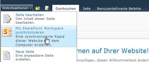 Wählen Sie diese Option aus, um eine SharePoint-Website mit Ihrem Computer zu synchronisieren