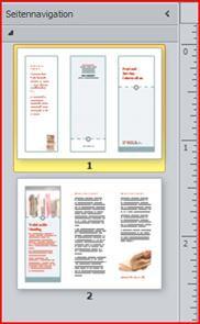 Zweiseitige Broschüre mit drei Bereichen im Seitennavigationsbereich von Publisher 2010