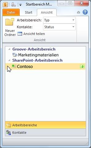 Ein SharePoint-Arbeitsbereich im Startbereich