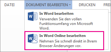 Abbildung des Befehls 'In Word Web App bearbeiten'