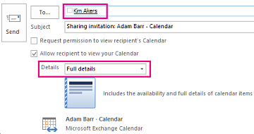 Invitation to share mailbox email internally - To box and Details setting
