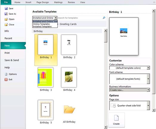 Template catalog in the Backstage view of Publisher 2010