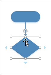 Hovering over the newly added shape displays AutoConnect arrows for adding another shape.