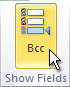 Bcc command on the ribbon