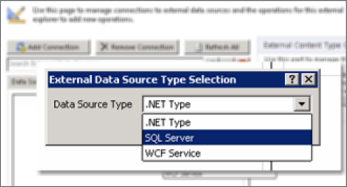 Screenshot of the Add Connection dialog where you can choose a data source type. In this case, the type is SQL Server, which can be used to connect to SQL Azure.
