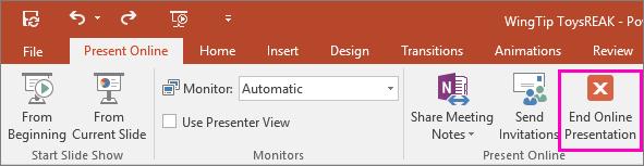 Shows End Online Presentation button in PowerPoint